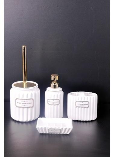 Bayev  4 Prç. Renkli Lüks Banyo Seti  Beyaz